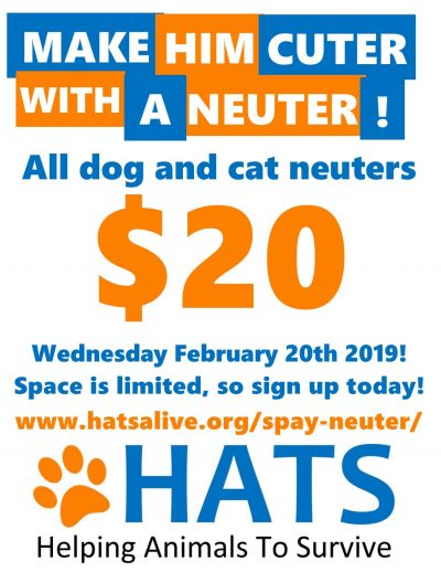 HATS $20 Neuter Transport - SOLD OUT